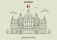 Estação central de Antuérpia, Bélgica Ícone do marco ilustração royalty free