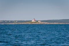 Estação da luz da rocha do ovo - Maine Fotografia de Stock Royalty Free