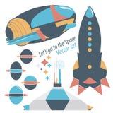 A estação da nave espacial, do foguete e do spase com robôs ajustou ilustrações Foto de Stock Royalty Free