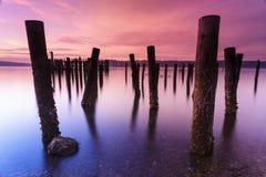 Estação de ancoragem e mar velhos Foto de Stock Royalty Free