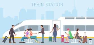 Estação de caminhos-de-ferro ilustração royalty free