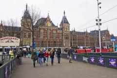 Estação de caminhos-de-ferro central em Amsterdão Imagens de Stock