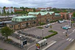 Estação de caminhos-de-ferro da central de Halmstad da entrada dianteira Fotos de Stock Royalty Free