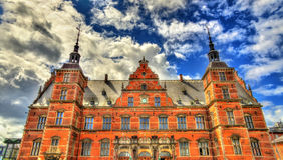 Estação de caminhos-de-ferro de Helsingor em Dinamarca Imagem de Stock Royalty Free