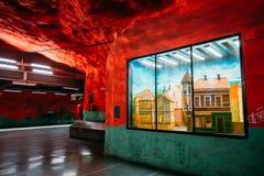 Estação de caminhos-de-ferro do metro de Éstocolmo em cores azuis Fotos de Stock Royalty Free