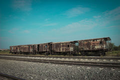 Estação de caminhos-de-ferro e trem velho Imagem de Stock Royalty Free