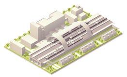 Estação de caminhos-de-ferro moderno isométrico ilustração royalty free