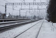 Estação de caminhos-de-ferro vazio Inverno Fotografia de Stock