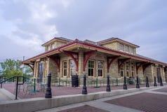 Estação de caminhos-de-ferro velho no parque da herança Fotografia de Stock Royalty Free