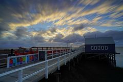 Estação de caminhos-de-ferro no molhe de Busselton na Austrália Ocidental fotos de stock