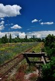 Estação de caminhos-de-ferro velho de Praga sob a ponte Foto de Stock
