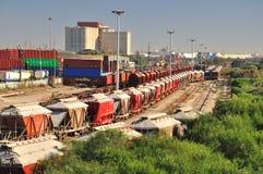Estação de comboio industrial. Imagem de Stock