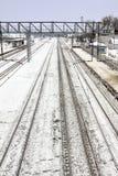 Estação de comboio no inverno Muita neve fotografia de stock