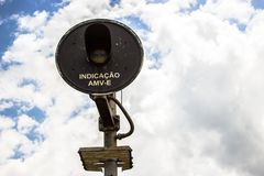 Signalman and the sky stock image
