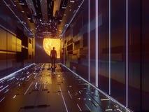 Estação de espaço da ficção científica ilustração stock