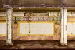 Estação de metro da rua das câmaras - New York City imagens de stock royalty free