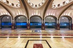 Estação de metro Mayakovskaya Moscovo, Rússia Fotografia de Stock
