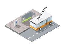 Estação de ônibus isométrica do vetor com terminal da venda do bilhete, ônibus bonde Fotografia de Stock Royalty Free