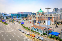 Estação de Seoul vista de Seoullo 7017 em Coreia do Sul Imagens de Stock