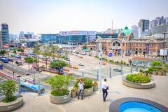 Estação de Seoul vista de Seoullo 7017 em Coreia do Sul Foto de Stock Royalty Free