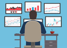 Estação de trabalho, informação da analítica da Web e Web site s do desenvolvimento Fotos de Stock Royalty Free