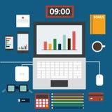 Estação de trabalho, projeto liso, vetor do ícone Imagens de Stock Royalty Free