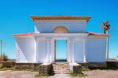 A estação de trem abandonada de Batumi ao longo do Mar Negro, localiza em Giorgi Gabrichidze Seaside Park no jardim botânico de B imagem de stock