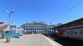 Estação de trem de Belorussky-- é uma das nove estações de trem principais em Moscou, Rússia Foto de Stock