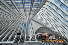 Estação de trem de Liège-Guillemins, Bélgica Fotografia de Stock