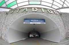 Estação de trem de Varsóvia Stadion na cidade de Varsóvia, Polônia Imagem de Stock