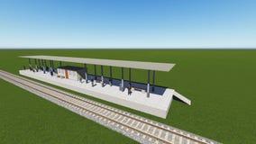 Estação de trem em uma rendição verde do campo 3D Fotografia de Stock Royalty Free