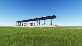 Estação de trem em uma rendição verde do campo 3D Imagem de Stock Royalty Free