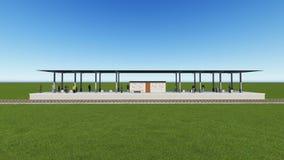 Estação de trem em uma rendição verde do campo 3D Fotos de Stock