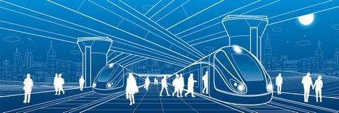 Estação de trem sob a passagem superior Os passageiros embarcam o trem Cena da vida urbana Infraestrutura de transporte da cidade ilustração do vetor