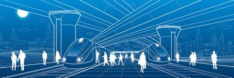 Estação de trem sob a passagem superior Os passageiros embarcam o trem Cena da vida urbana Infraestrutura de transporte da cidade ilustração stock