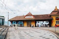 Estação de Vitznau na lucerna do lago, Suíça Foto de Stock