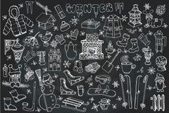 Estação de Winteer Grupo de elementos da garatuja Giz ilustração do vetor