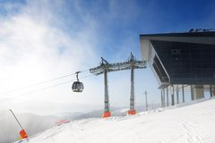 A estação do cabo aéreo da rotunda em Chopok em Jasna Low Tatras Foto de Stock Royalty Free