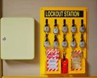 Estação do fechamento e caixa chave imagem de stock royalty free