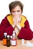 Estação do frio e de gripe imagem de stock
