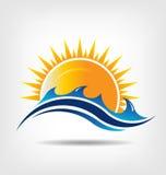 Estação do mar e do sol. Logotipo do vetor. Abstração da SU