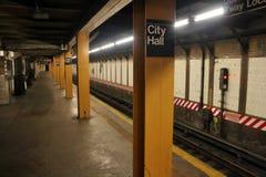 Estação do metro de New York City Salão fotografia de stock royalty free