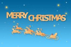 Estação do Natal e estação do ano novo feliz feita da madeira com arte das decorações e estilo do ofício, ilustração Foto de Stock Royalty Free