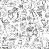 Estação do Natal Símbolos da garatuja Teste padrão sem emenda ilustração royalty free