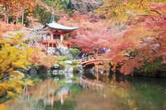 Estação do outono, a cor da mudança da licença do vermelho no templo japão Fotos de Stock Royalty Free