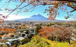 Estação do outono da floresta do bordo em Japão com Mountain View de Fuji Fotos de Stock Royalty Free