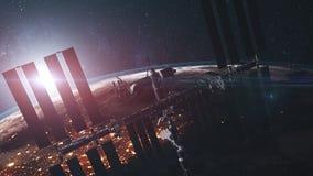A estação espacial internacional voa sobre continente da terra ilustração royalty free