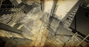 Estação. Interior industrial moderno, escadas, espaço limpo no indu Fotos de Stock Royalty Free