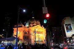 Estação ocupada da rua do Flinders Fotos de Stock Royalty Free