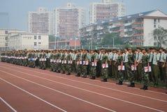 Estação pura 13 do treino militar das estudantes universitário de China Imagem de Stock